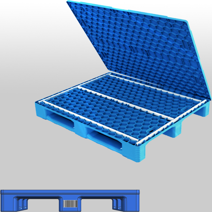 3 Runners closed deck RFID plastic pallet L1200*W1000*H140mm