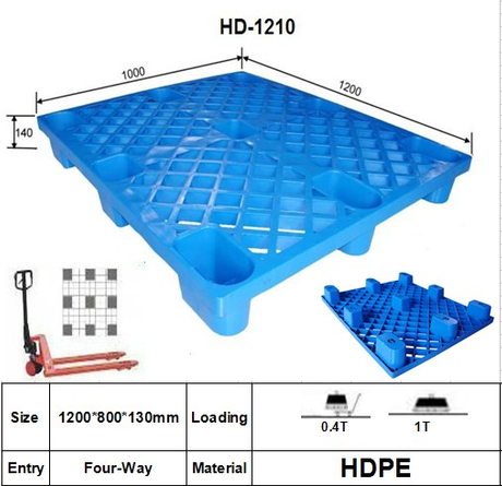 Plastic Pallet with 9 Legged Support, Nestable, Grid.