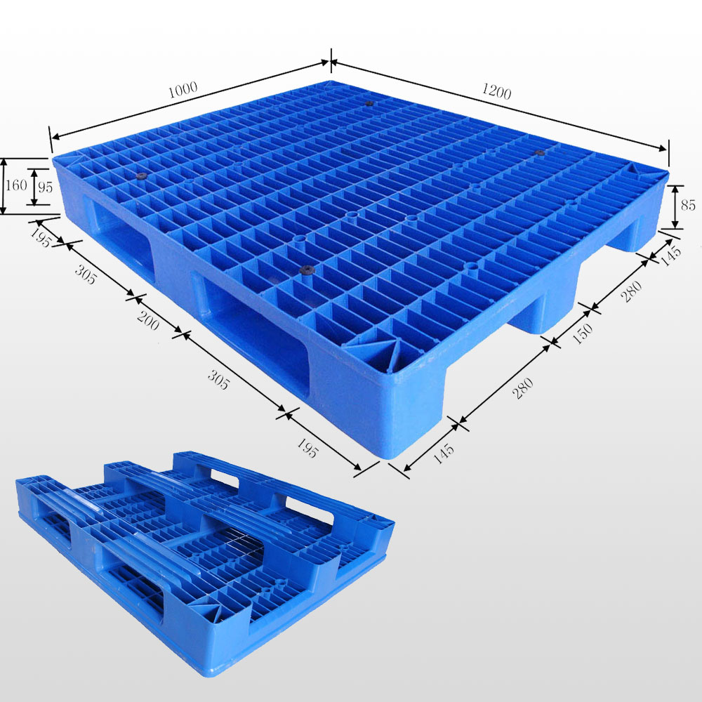 Plastic pallet with 3 runners open deck 1200*1000*160mm