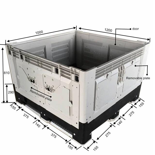 1200*1000*810 Ventilated Transportation Storage Collapsible Plastic Pallet Box