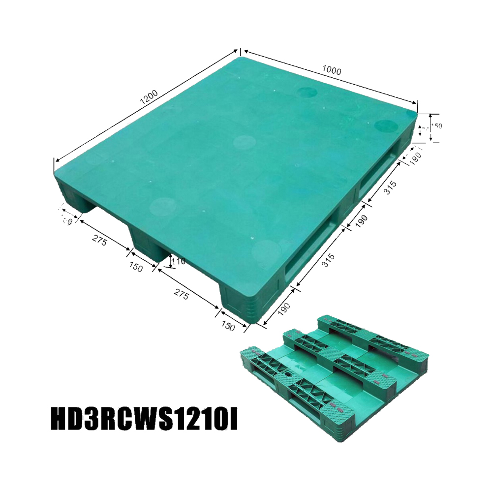 1200*1000 Three Runners Close Deck Customize Recycle Storage Plastic Pallet